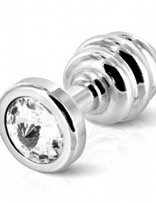 Diogol - Ano Butt Plug Ribbed Silver Plated 30 mm