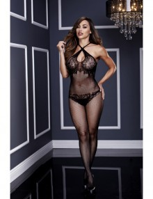 Baci - Floral Lace Crotchless Bodystocking O/S