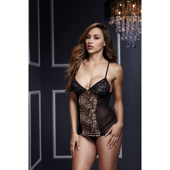 Baci - Leopard Basque & Garter Stays No Panty O/S