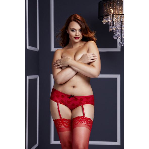 Baci - Red Rose Open Crotch Boyshort Panty Q
