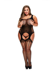 Baci - Crotchless Garter Bodystocking Queen Size