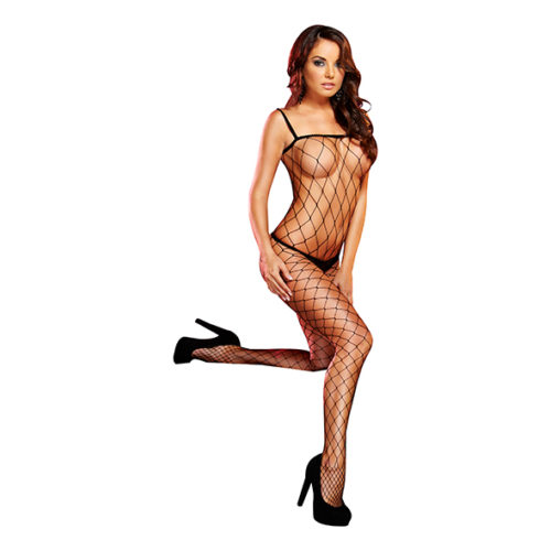 Lapdance - Crotchless Fencenet Bodystocking Black