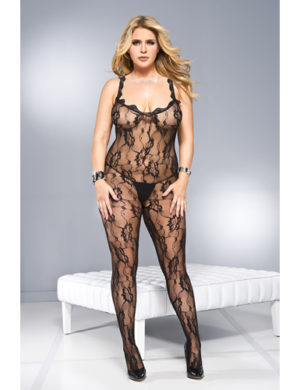 Plus Size Crotchless Catsuit With Frills