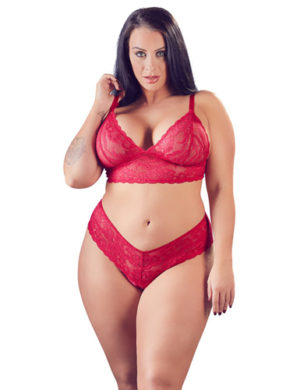 Lace Bra Set With Open Crotch