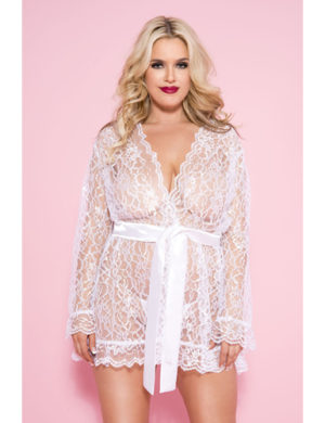 Plus Size Floral Face Robe - White
