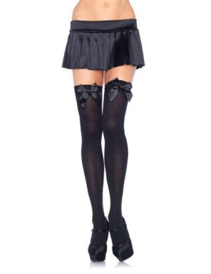Nylon Over The Knee With Bow - Black