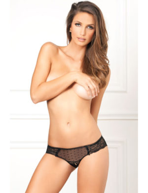 Crotchless lace and dots panty