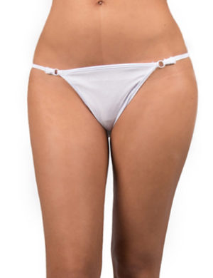 White thong with silver details