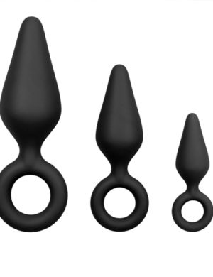 Black Buttplugs With Pull Ring - Set