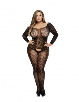 Baci - Long-Sleeved Lace Garter Catsuit - Curvy