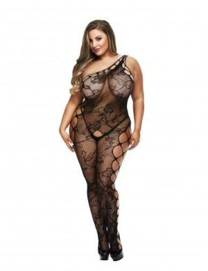 Baci - One Shoulder Crotchless Fishnet Catsuit - Curvy