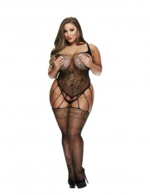 Baci - Strappy Fishnet Garter-Look Catsuit - Curvy